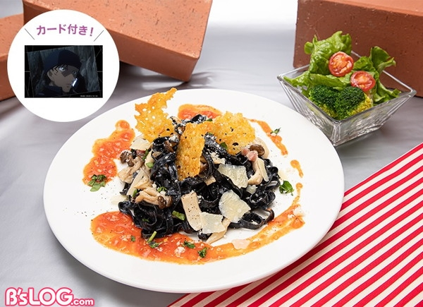 赤井のキノコとチーズの黒パスタ